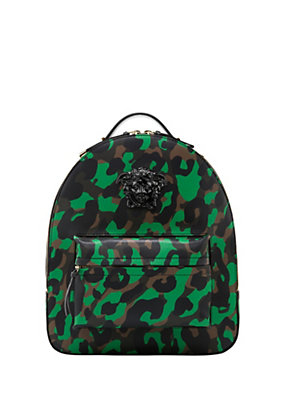 Versace Women Camoupard Print Leather Backpack
