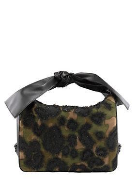 Versace Women Leather bow-handle Leopard bag
