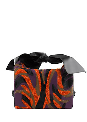 Versace Women Leather bow-handle Zebra bag