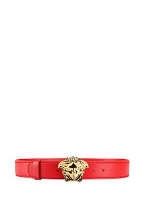 Versace Women Medusa Buckle Leather Belt