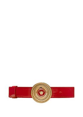 Versace Women Patent Medusa Leather Belt