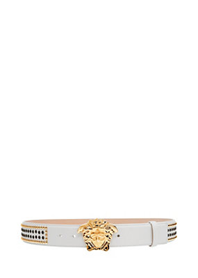 Versace Men Medusa Head studded leather belt