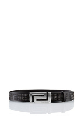 Versace Men Greca Belt With Studwork