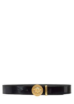 Versace Men Medusa Leather Belt with Swarovski