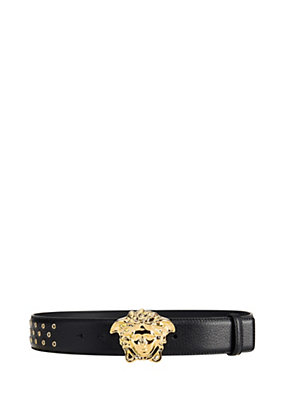 Versace Men Palazzo deer leather studded belt