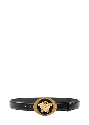Versace Men Enamelled Medusa Leather Belt