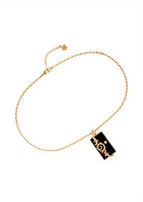 Versace Men Ornate Resin Bar Pendant Necklace