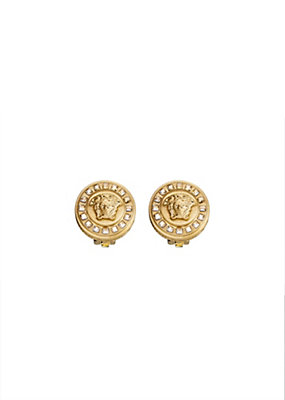 Versace Women Medusa and Crystal Stud Earrings