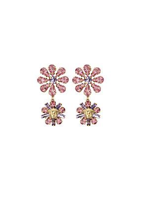 Versace Women Floral Swarovski Drop Earrings