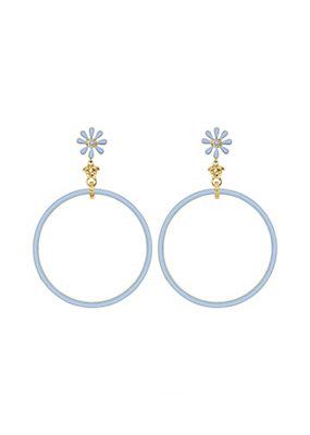 Versace Women Floral Enamel Hoop Earrings