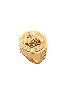 Versace Men Greca and Medusa Ring