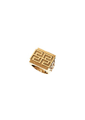 Versace Men Greca Key gold tone statement ring