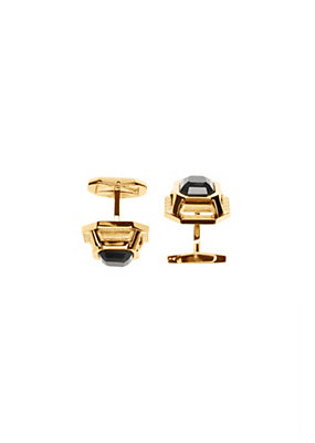 Versace Men Men Onyx Gold-Tone Cufflinks