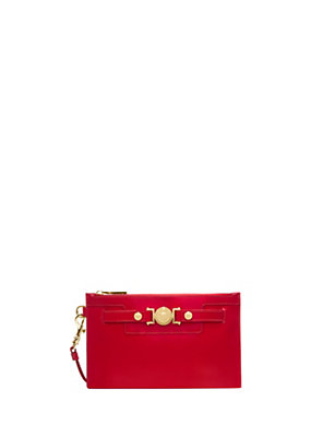 Versace Women Signature patent leather clutch