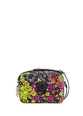 Versace Women Fiori Print Leather Shoulder Bag