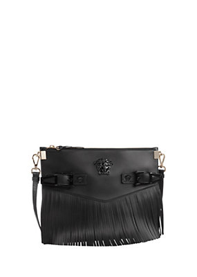 Versace Women Medium Palazzo Fringe Shoulder Bag