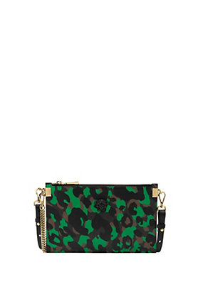 Versace Women Camoupard Print Leather Pouch