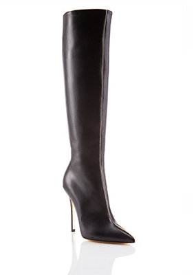 Versace Women Knee Boots with Gold Piping