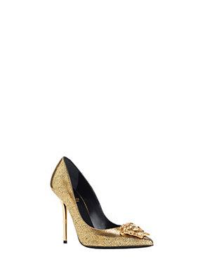 Versace Women Gold Textured Palazzo Heels