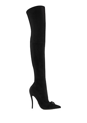 Versace Women Palazzo Suede Stiletto Boot