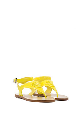 Versace Women Patent Palazzo Flat Thong Sandal