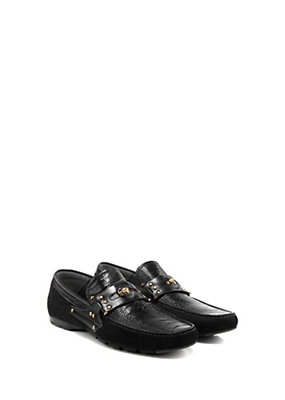 Versace Men Men Driving Shoes with Ostrich Inserts
