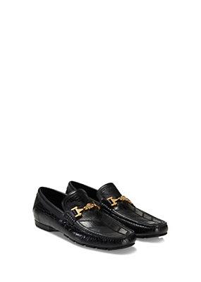 Versace Men Men Croc Print Leather Driving Shoes