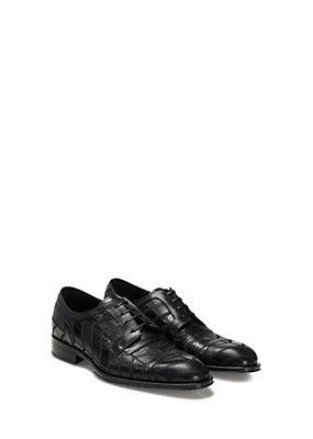Versace Men Men Printed Croc Vitello Patchwork Shoe