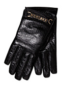 Versace Men Croco Print Leather Gloves