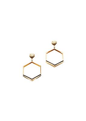 Versus Versace Women Lion head hexagon hoop earrings