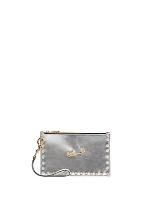 Versus Versace Women SAFETY PIN PUNCHED METALLIC POUCH