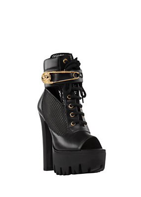 Versus Versace Women SAFETY PIN MESH ANKLE BOOTS