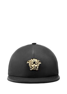 Versace Men Men Medusa Leather Cap
