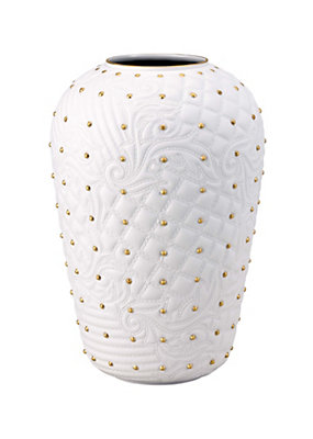 Versace Home Collection Vanitas White Studded Vase