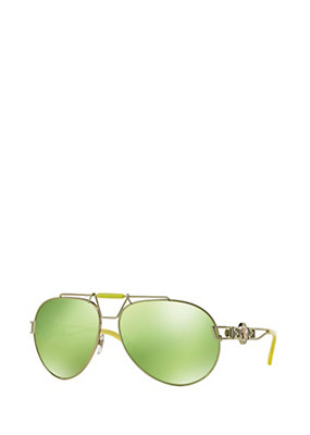 Versace Men Men Signature Pilot Mirrored Shades