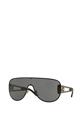 Versace Women Black wraparound with gold temples