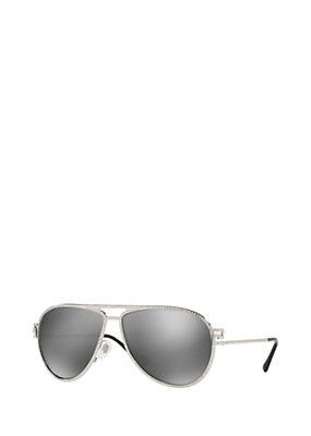 Versace Women Greca Stars Silver Sunglasses