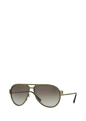 Versace Women Greca Stars Green Sunglasses