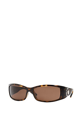 Versace Men Men Havana Wrap Sunglasses