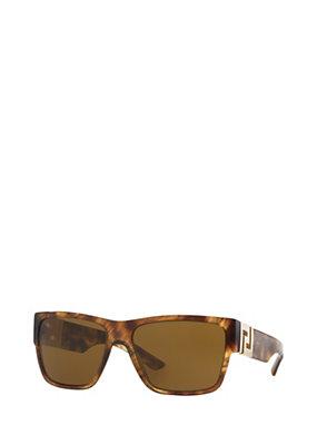 Versace Men Men Havana Squared Sunglasses