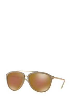 Versace Women Tan Signature Greca Sunglasses