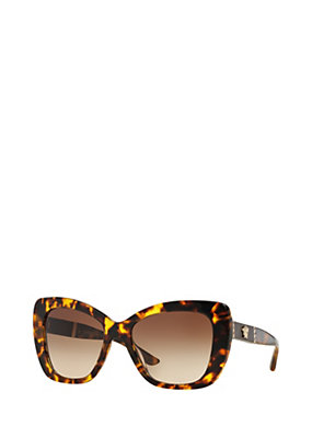 Versace Women Havana leather butterfly sunglasses