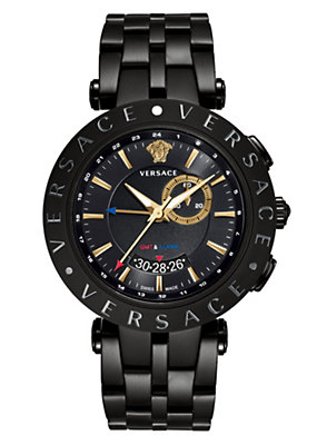 Versace Men Watches V-Race Gmt Alarm 46mm Bracelet