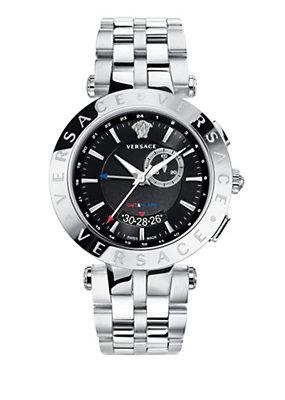 Versace Men Watches V-RACE GMT ALARM steel strap
