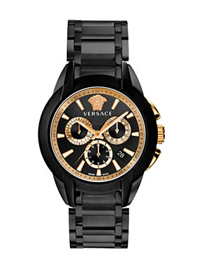 Versace Men Men Black and Gold Medusa Watch