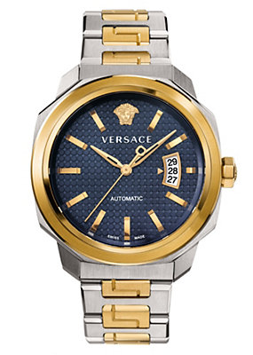 Versace Men Watches Dylos Blue Two-Tone Automatic Watch