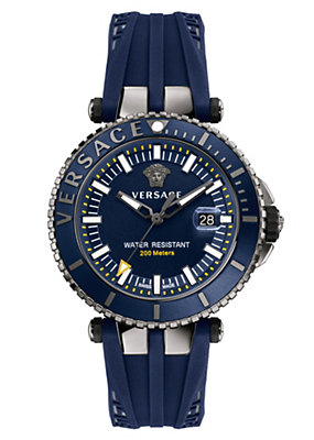 Versace Men Watches V-Race Diver Grey Blue Dial Watch