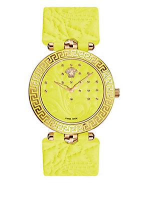 Versace Women Yellow Vanitas Studded Watch