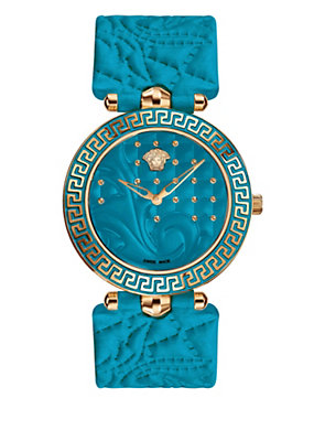 Versace Women Turquoise Vanitas Studded Watch