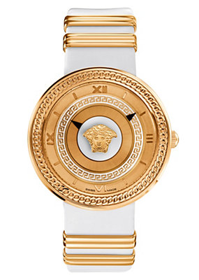 Versace Women Watches V- Metal Icon White and Gold